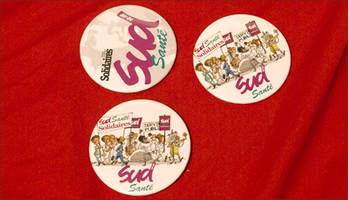 Badges pour le syndicat SUD sante