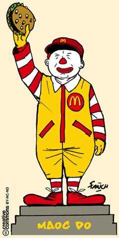 statue de MAO transformee en clown de MAC DO