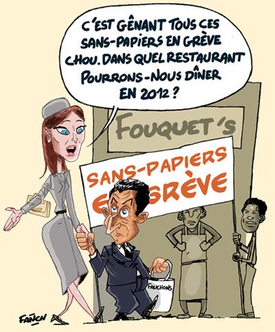 Carla Bruni et Nicolas Sarkozy ne peuvent pas aller au Fouquets a cause des sans papiers